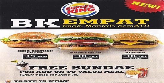 brosur burger king Burger King